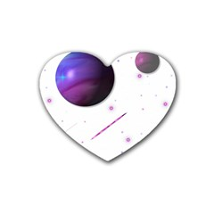 Space Transparent Purple Moon Star Rubber Coaster (heart)  by Mariart