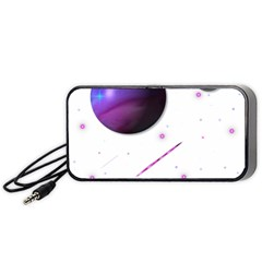 Space Transparent Purple Moon Star Portable Speaker (black) by Mariart