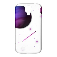 Space Transparent Purple Moon Star Samsung Galaxy S4 Classic Hardshell Case (pc+silicone) by Mariart