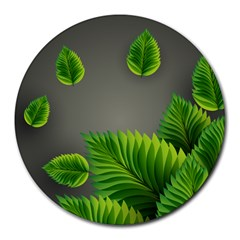 Leaf Green Grey Round Mousepads by Mariart