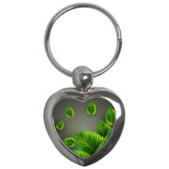 Leaf Green Grey Key Chains (heart)  by Mariart