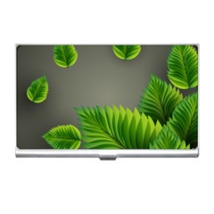 Leaf Green Grey Business Card Holders by Mariart