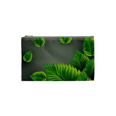 Leaf Green Grey Cosmetic Bag (small)  by Mariart