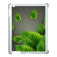 Leaf Green Grey Apple Ipad 3/4 Case (white) by Mariart