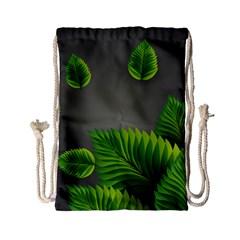 Leaf Green Grey Drawstring Bag (small) by Mariart