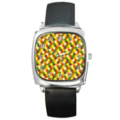 Flower Floral Sunflower Color Rainbow Yellow Purple Red Green Square Metal Watch by Mariart
