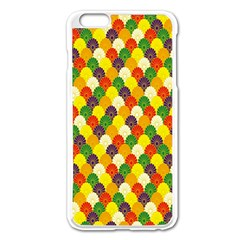 Flower Floral Sunflower Color Rainbow Yellow Purple Red Green Apple Iphone 6 Plus/6s Plus Enamel White Case by Mariart