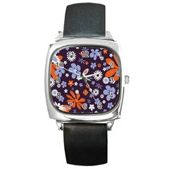 Bright Colorful Busy Large Retro Floral Flowers Pattern Wallpaper Background Square Metal Watch