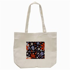 Bright Colorful Busy Large Retro Floral Flowers Pattern Wallpaper Background Tote Bag (cream) by Nexatart