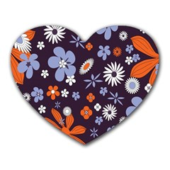 Bright Colorful Busy Large Retro Floral Flowers Pattern Wallpaper Background Heart Mousepads by Nexatart