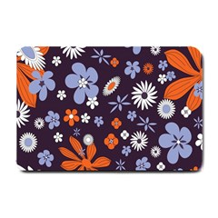 Bright Colorful Busy Large Retro Floral Flowers Pattern Wallpaper Background Small Doormat  by Nexatart