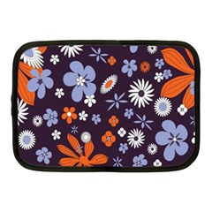 Bright Colorful Busy Large Retro Floral Flowers Pattern Wallpaper Background Netbook Case (medium)