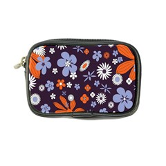 Bright Colorful Busy Large Retro Floral Flowers Pattern Wallpaper Background Coin Purse by Nexatart
