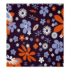 Bright Colorful Busy Large Retro Floral Flowers Pattern Wallpaper Background Shower Curtain 66  X 72  (large)  by Nexatart