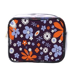 Bright Colorful Busy Large Retro Floral Flowers Pattern Wallpaper Background Mini Toiletries Bags by Nexatart