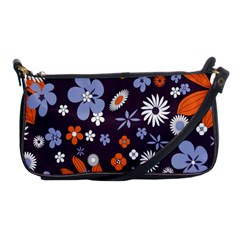 Bright Colorful Busy Large Retro Floral Flowers Pattern Wallpaper Background Shoulder Clutch Bags