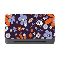 Bright Colorful Busy Large Retro Floral Flowers Pattern Wallpaper Background Memory Card Reader With Cf by Nexatart
