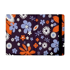 Bright Colorful Busy Large Retro Floral Flowers Pattern Wallpaper Background Apple Ipad Mini Flip Case