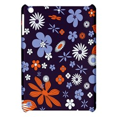 Bright Colorful Busy Large Retro Floral Flowers Pattern Wallpaper Background Apple Ipad Mini Hardshell Case