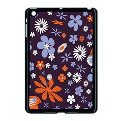 Bright Colorful Busy Large Retro Floral Flowers Pattern Wallpaper Background Apple Ipad Mini Case (black)