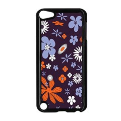 Bright Colorful Busy Large Retro Floral Flowers Pattern Wallpaper Background Apple Ipod Touch 5 Case (black) by Nexatart