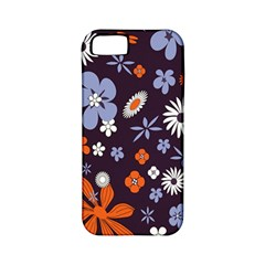 Bright Colorful Busy Large Retro Floral Flowers Pattern Wallpaper Background Apple iPhone 5 Classic Hardshell Case (PC+Silicone)