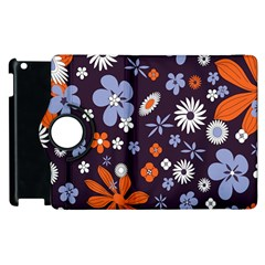 Bright Colorful Busy Large Retro Floral Flowers Pattern Wallpaper Background Apple Ipad 2 Flip 360 Case by Nexatart