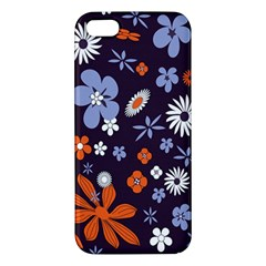 Bright Colorful Busy Large Retro Floral Flowers Pattern Wallpaper Background Apple Iphone 5 Premium Hardshell Case