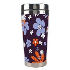 Bright Colorful Busy Large Retro Floral Flowers Pattern Wallpaper Background Stainless Steel Travel Tumblers by Nexatart