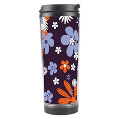 Bright Colorful Busy Large Retro Floral Flowers Pattern Wallpaper Background Travel Tumbler