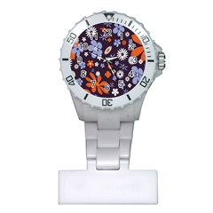 Bright Colorful Busy Large Retro Floral Flowers Pattern Wallpaper Background Plastic Nurses Watch by Nexatart