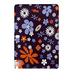 Bright Colorful Busy Large Retro Floral Flowers Pattern Wallpaper Background Samsung Galaxy Tab Pro 10 1 Hardshell Case