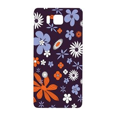 Bright Colorful Busy Large Retro Floral Flowers Pattern Wallpaper Background Samsung Galaxy Alpha Hardshell Back Case by Nexatart