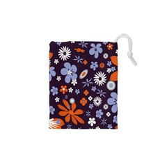Bright Colorful Busy Large Retro Floral Flowers Pattern Wallpaper Background Drawstring Pouches (xs)  by Nexatart