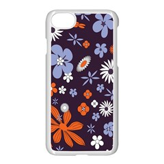 Bright Colorful Busy Large Retro Floral Flowers Pattern Wallpaper Background Apple Iphone 7 Seamless Case (white)