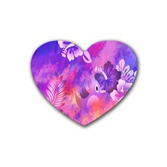 Littie Birdie Abstract Design Artwork Heart Coaster (4 Pack)  by Nexatart