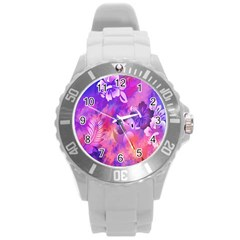 Littie Birdie Abstract Design Artwork Round Plastic Sport Watch (l) by Nexatart