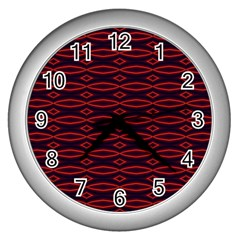 Repeated Tapestry Pattern Abstract Repetition Wall Clocks (silver)  by Nexatart