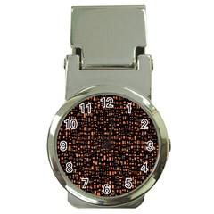 Brown Box Background Pattern Money Clip Watches by Nexatart