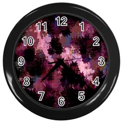 Grunge Purple Abstract Texture Wall Clocks (black) by Nexatart