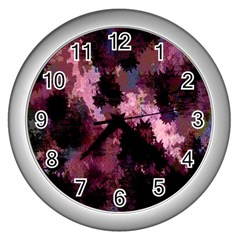 Grunge Purple Abstract Texture Wall Clocks (silver)  by Nexatart