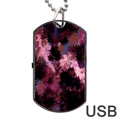 Grunge Purple Abstract Texture Dog Tag Usb Flash (two Sides)