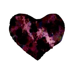 Grunge Purple Abstract Texture Standard 16  Premium Flano Heart Shape Cushions by Nexatart