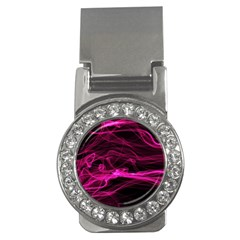 Abstract Pink Smoke On A Black Background Money Clips (cz)