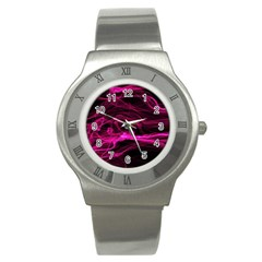 Abstract Pink Smoke On A Black Background Stainless Steel Watch by Nexatart