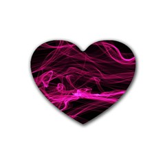 Abstract Pink Smoke On A Black Background Rubber Coaster (heart)  by Nexatart