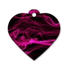 Abstract Pink Smoke On A Black Background Dog Tag Heart (two Sides) by Nexatart