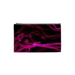 Abstract Pink Smoke On A Black Background Cosmetic Bag (small)  by Nexatart