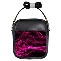 Abstract Pink Smoke On A Black Background Girls Sling Bags by Nexatart