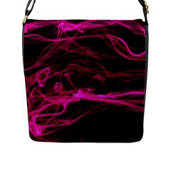 Abstract Pink Smoke On A Black Background Flap Messenger Bag (l)  by Nexatart